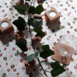 """Décorations de table en liège-Guirlande lumineuse """"la Touraine"""", bougeoir, sous-verres carré et rond- Arts de la Table"""