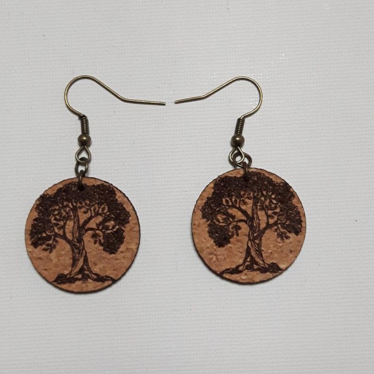 Boucles d'Oreilles en liège -Collection Bien-Etre Yin Yang-Crochets bronze (sans plomb sans nickel)-2 mm-forme rondes inférieures à 30 mm