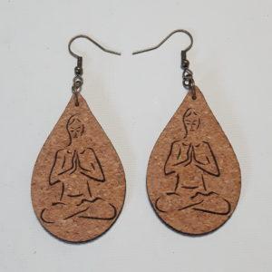 Boucles d'Oreilles en liège -Collection Bien-Etre Femme en méditation-Crochets bronze (sans plomb sans nickel)-2 mm-forme petites ou moyennes gouttes