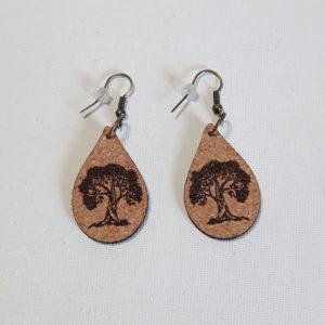 Boucles d'Oreilles en liège- Collection Bien-Etre Arbre de vie-Crochets bronze (sans plomb sans nickel)-2 mm- en forme petites gouttes inférieures à 30 mm