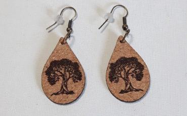 Boucles d'Oreilles en liège Arbre de vie-Crochets bronze (sans plomb sans nickel)-2 mm- en forme petites gouttes inférieures à 30 mm