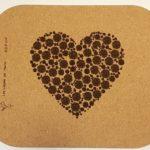 Tapis de souris en liège recyclé - Coeur fleuri -190 x 230m - épaisseur 2 mm- traité anti-salissure et anti-chaleur