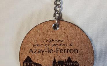 Porte-clés en liège- Château, parcs et jardins d'Azay-le-Ferron- épaisseur 3 mm avec anneaux en acier inoxydable- diamètre 40 mm