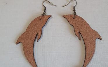 Boucles d'oreilles en liège -Collection Animale-Dauphin découpé-Crochets bronze (sans plomb sans nickel)-2 mm-forme petites inférieures à 30 mm ou grandes (supérieures à 50 mm)