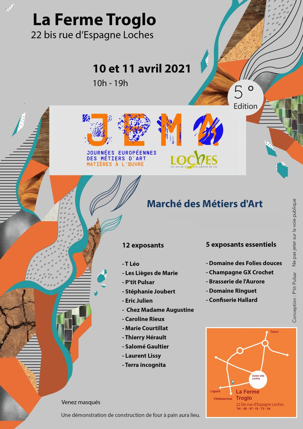 Affiche JEMA 2021 les 10 et 11 avril 2021 à la Ferme Troglo à Loches (37)
